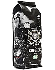 Sons of Amazon Coarse Ground Filter Coffee Beans 500g - Arabica Robusta Dark Roast - Australia's Strongest 400mg Caffeine - Rocky Grind