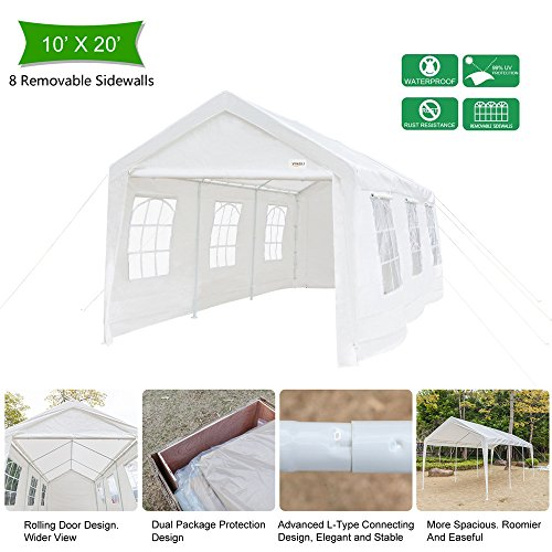 kdgarden 10 x 20 ft. Heavy Duty Domain Carport Portable ...