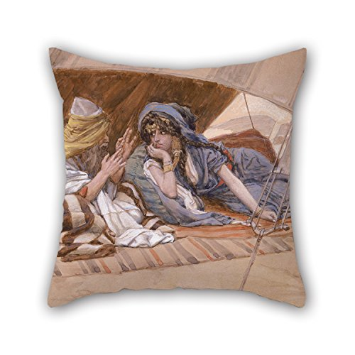 Elegancebeauty Pillow Covers Of Oil Painting James Jacques Joseph Tissot - Abram's Recommendation To Sarai 18 X 18 Inches / 45 By 45 Cm,best Fit For Couch,birthday,play Room,adults,valentine,boys Counterpart Sid