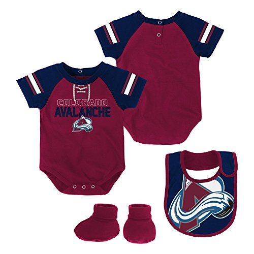 NHL Colorado Avalanche Newborn & Infant Little D-Man Onesie, Bib & Bootie Set, 6-9 Months, Burgundy (Sports Bib Hockey)