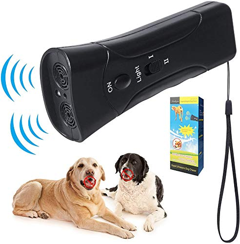 NAAZ Ultrasonic Dog Bark Deterrent, Dog Barking Control Devices Dog Trainer 2 in 1 Control Range