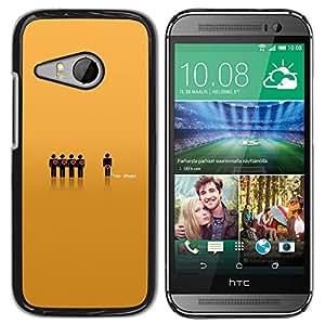 KLONGSHOP // Cubierta de piel con cierre a presión Shell trasero duro de goma Protección Caso - Jefe de equipo pequeño - HTC ONE MINI 2 / M8 MINI //