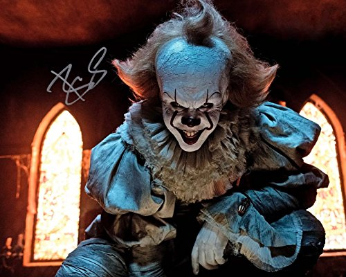 Signed 8x10 Color Movie Photo (Bill Skarsgard as Pennywise in IT reprint signed 8x10 photo #2)
