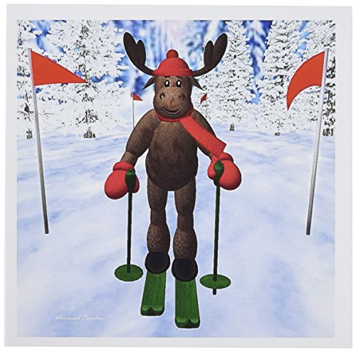 3d Rose 3dRose Cross Country Skiing Reindeer - Greeting C...