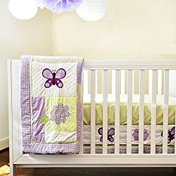 Lavender Butterfly 10-Piece Bedding Set, With Gorgeous Shades Of Purple, Lavender And Lilac, This 10-Piece Set Will Make Any Baby Girl Love Her Dreamy Room