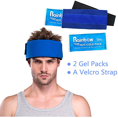 Reusable 2 Gel Ice Pack & 1 Hot Cold Therapy Wrap Flexible Reusable for Fast Pain Relief, Sports Injuries, First Aid Essential, Great for Head Neck Wrist Knee Ankle Shin, etc. Set of (Headache Wrap)