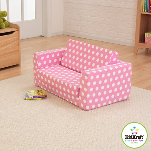 Amazon.com: KidKraft Girl\'s Pink with White Polka Dots Lil\' Lounger ...