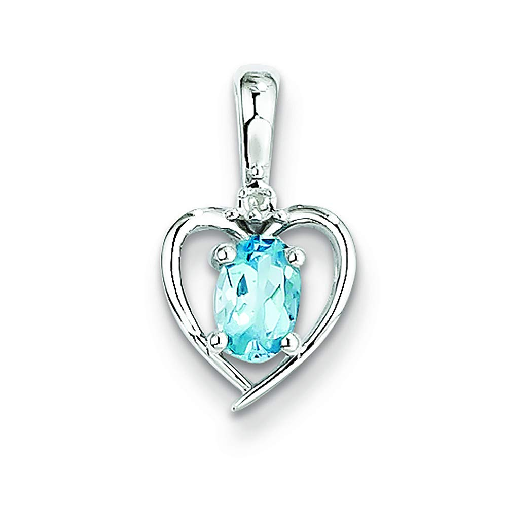 Sterling Silver Heart Light Swiss Blue Topaz and Diamond December Birthstone Charm Pendant