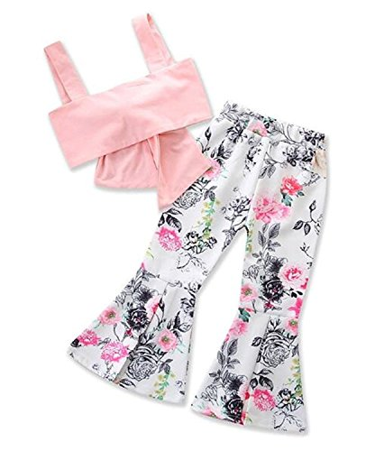 EGELEXY Toddler Infant Kids Girls Strap Bowknot Tops Floral Flare Pants Outfits 2Pcs Set Size 5-6Years/Tag110 - Flare Kids