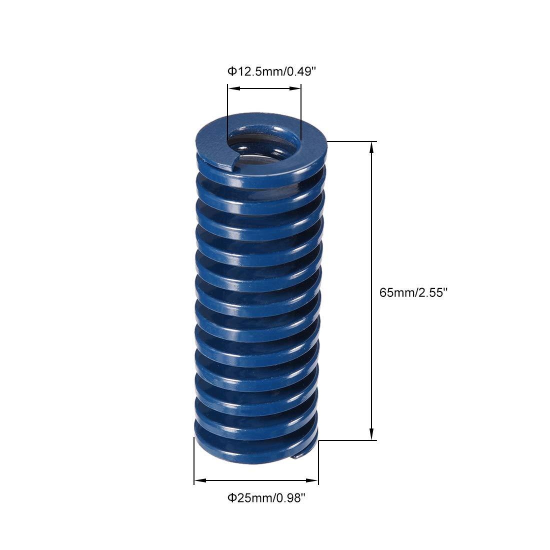 25mm OD 65mm Long Spiral Print Light Load Compression Mold Die Spring Blue 1Pcs