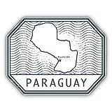 Paraguay Map Stamp Art Decor Bumper Sticker 5'' x 4''