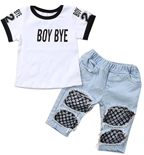 Emmababy Kids Baby Girls T-Shirt Tops Summer Autumn Mesh Hole Denim Pants Jeans Harem Leggings Outfits Clothes (White, 2-3T) (Girls Spring Clothing)