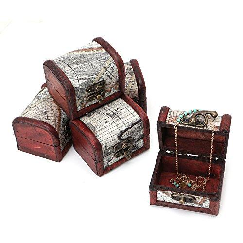 - Amrka Wooden Pirate Map Jewellery Storage Box Case Holder Vintage Treasure Chest