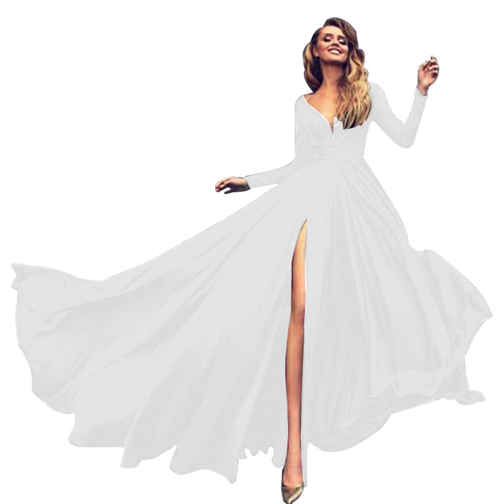 White AnnaApparel Women Long Evening Gowns Wedding Prom Bridesmaid Dress Elegant Cocktail Party Dresses