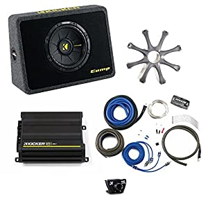 "Kicker Bass package - 10"" CompS in ported truck box with CX300.1 amplifier, wiring kit, grille, and bass knob."