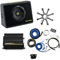 Kicker Bass package - 10 CompS in ported truck box with CX300.1 amplifier, wiring kit, grille, and bass knob.