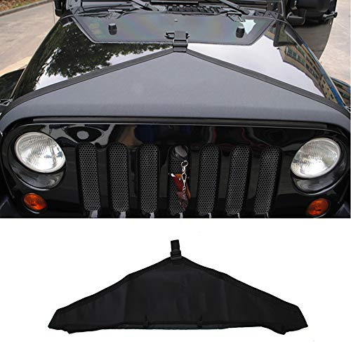 RT-TCZ Front Hood Cover Bra Cover T-Style Protector Kit For Jeep Wrangler JK 2007-2017(Black)