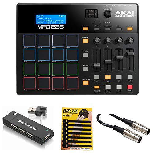 Akai Professional MPD226 MIDI USB Pad Drum Beat Controller + 4 Port USB Hub + MIDI Cable & Pack of CableTies