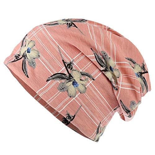 HONENNA Flower Printed Cotton Beanie Women Turban Headband Chemo Cap (Pink&Brown)