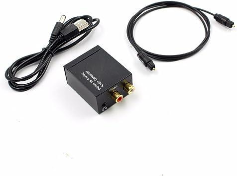 TOOGOO Convertidor de audio digital a analogico Decodificador de senal de fibra optica Senal coaxial a analogico Adaptador de audio estereo 3.5MM Jack 2 * RCA: Amazon.es: Electrónica