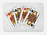 Ambesonne Queen Bath Mat, Queens Poker Set Faces Hearts and Spades Gambling Theme Symbols Playing Cards, Plush Bathroom Decor Mat with Non Slip Backing, 29.5 W X 17.5 W Inches, Black Red Yellow