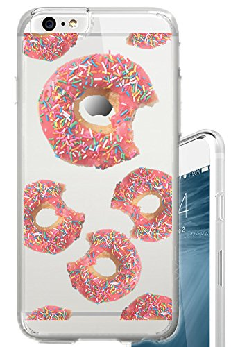 iPhone 6S Case Donuts with sprinkles Funny Foodie Food Snack Clear Translucent Transparent Unique Design Pattern Cover For iPhone 6S also fits iPhone 6