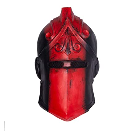 WZP Fortnite Fox Mask Black Knight Mask Halloween Scary Mask Dress Up Prom Mask,Red