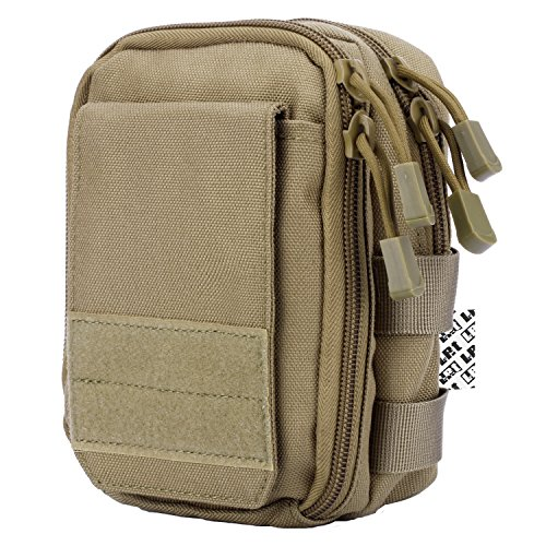 (LefRight Multipurpose Tactical Nylon Molle Utility IFAK Pouch Waist Bag Holster Combo Detachable Strap Compatible with iPhone XR 7 Plus Pixel XL S8 S7 Edge Moto Z Force Play (Khaki))