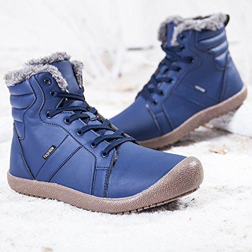 JIASUQI Frauen Klassische Winter Schneeschuhe Wasserdichte Outdoor Ankle Booties Pelz Marine