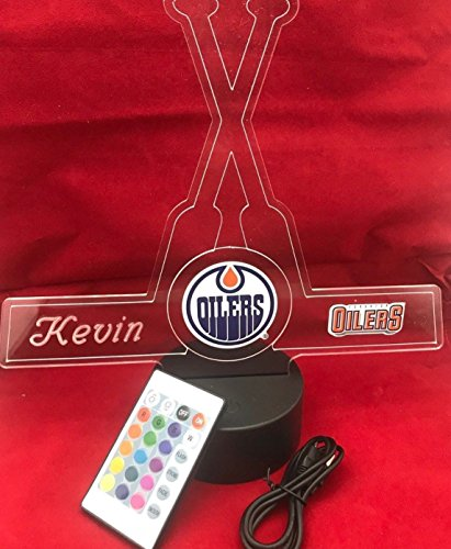 Edmonton Beautiful Handmade Acrylic Personalized Oilers Hockey Sticks Light Up Light Lamp LED, Remote, Our Newest Feature - It's WOW, With Remote 16 Color Options, Dimmer, Free Engraving, Great Gift