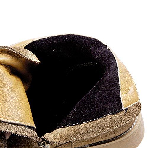 Rismart Mujer Último Europeo De Moda Otoño Romano Botas Nubuck Cuero Encaje las Martin Botas SN265 Marrón