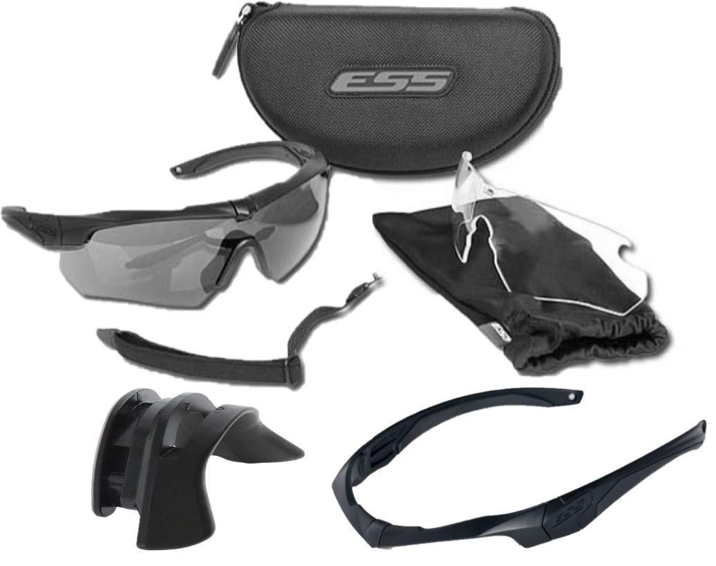 ESS (イーエスエス) クロスボウ Crossbow 2X バリスティック 防弾サングラス 2枚レンズ/2フレーム+追加フレーム+アジアンノーズ フィットグリップ (ミドル) [並行輸入品]   B07N5CNKY6
