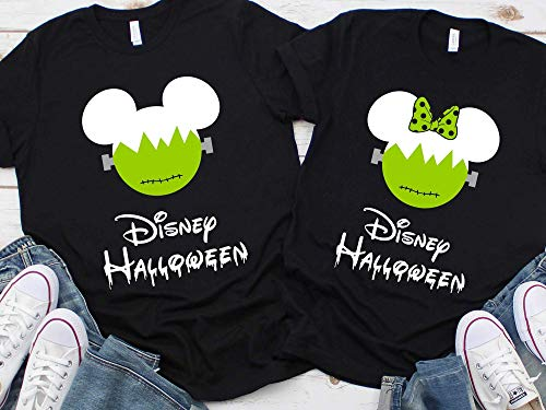 Disney Halloween Frankenstein Black green Family Vacation Shirts Mickey Not So Scary Party