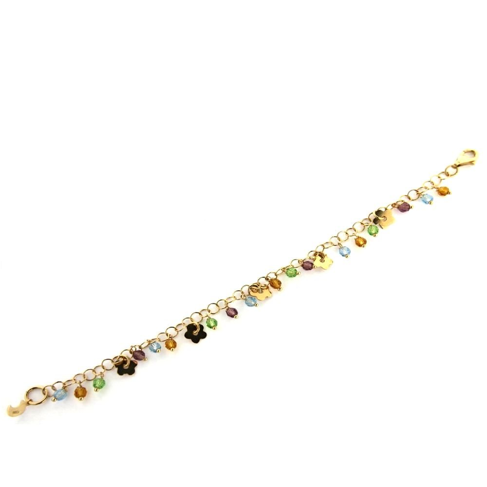 18K Yellow Gold Flower with Crystal Bracelet 6 inches