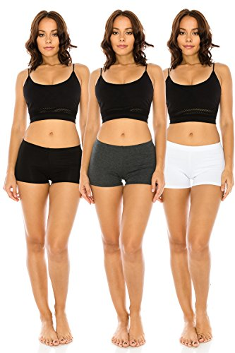 The Classic Women's Stretch Cotton Activewear Dance Yoga Booty Shorts Pants S to 3XL (Medium, BLKCHAWHT) (Booties Cotton)