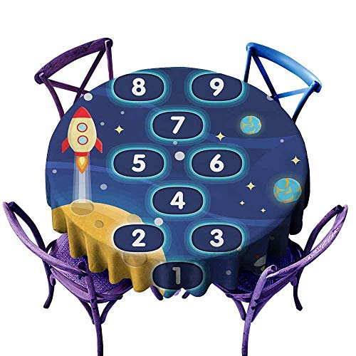 AndyTours Stain Round Tablecloth,Kids Activity,Children Activity Hopscotch Game in Space Science Fiction Themed Cartoon,for Banquet Decoration Dining Table Cover,47 INCH Multicolor -