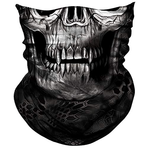 AXBXCX 3D Skull Skeleton Neck Gaiter Face Mask for Motorbike Motorcycle Cycling Riding Hiking Hunting Fishing Skateboard Powersports Cosplay Halloween Party Music Festivals Raves Face Mask -