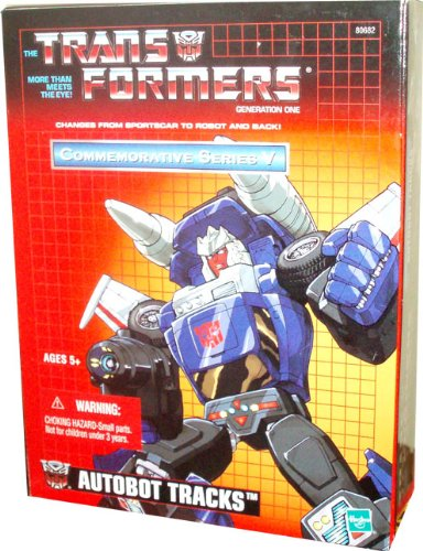 Transformers Year 2003 Commemorative Series V Generation 1 Re-Issue 5 Inch Tall Robot Action Figure - Autobot TRACKS with Black Beam Gun and 2 Missile Launchers with 4 Missiles (Vehicle Mode : Sportscar)
