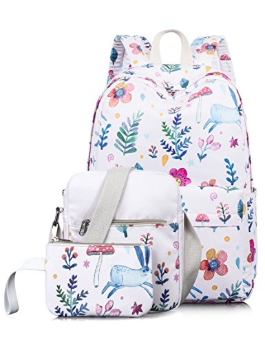 Leaper Cute Bunny Pattern Laptop Backpack School Bookbags Shoulder Bag Pencil Cases Pink (Bunny Backpack)
