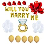 Gold Will You Marry ME Decoration Set 16'' Foil Gold Balloons Banner Set for Proposal, Romantic Letters. Public Marriage Proposal Homemade Marriage Proposal at-Work Marriage Proposal