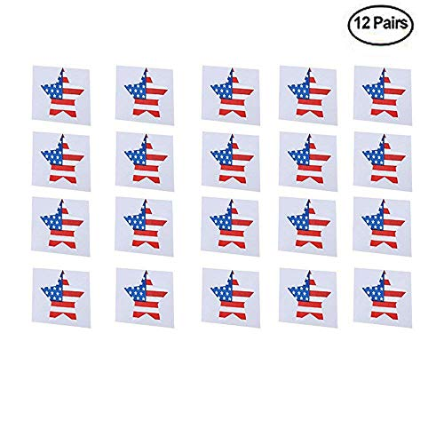 BinaryABC 4th of July Nipple Cover,Disposable Nipple Stickers,American Flag Breast Petals Lingerie Pasties,Independence Day Decoration (12 Pair)