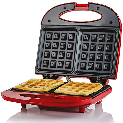 (Ovente WMS602R Electric Waffle Maker, 750W, Non-Stick Plates, Safety Cover Latch, Indicator Lights, Cool-Touch Handle, Red, 2-Slice,)