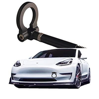 DEWHEL JDM Aluminum Track Racing Front Rear Bumper Car Accessories Auto Trailer Ring Eye Towing Tow Hook Kit Screw On for Tesla Model 3 (Black): Automotive