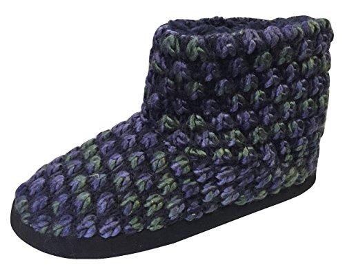 Dearfoams Women's Popcorn Knit Bootie Slippers With Memory Foam (Medium/7-8 B(M) US, Peacoat)
