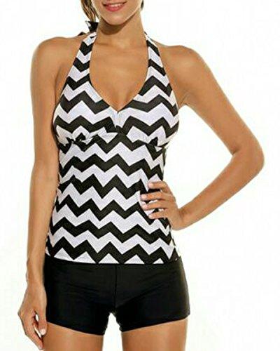 Holipick Women 2 Piece Chevron Pattern Halter Stripe Padded Tankini Top with Boyshort Bottoms Swimsuits Set Chevron M