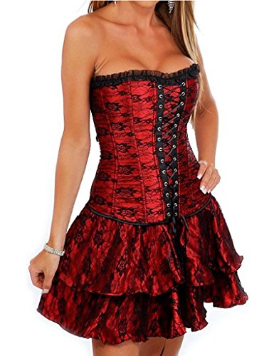 cideary Vintage de la mujer de encaje borde corsé Bustier Partido Falda disfraz de Holloween Rojo