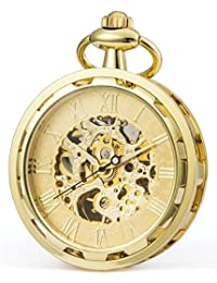 SEWOR Retro Single Face Carving Pocket Watch Mechanical Hand Wind (Gold)