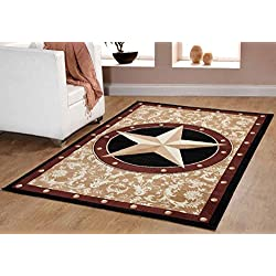 "Furnish my Place Texas Western Star Rustic Cowboy Decor Area Rug, 40"" L, Gold/Brown/Black"
