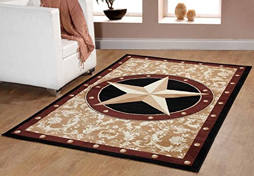 Furnish my Place Texas Western Star Rustic Cowboy Decor Area Rug, Gold/Brown/Black