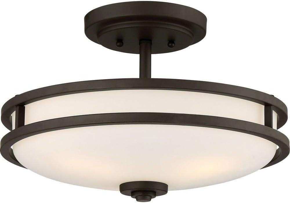 Quoizel CDT1715OZ Cadet Semi-Flush Ceiling Lighting, 3-Light, 300 Watts, Old Bronze (10